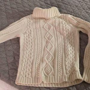 Eddie Bauer Ivory Fisherman Sweater,  S